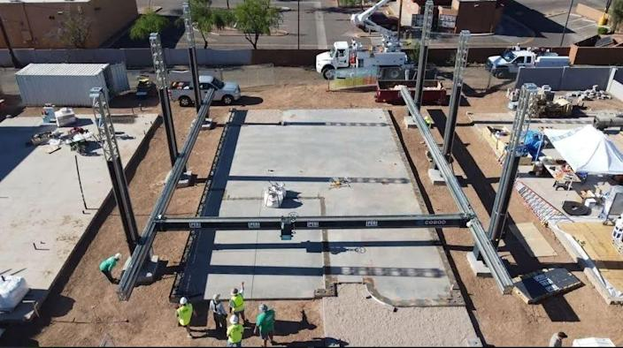 Habitat for Humanity unveils its progress on a 3D-printed home in Tempe, Ariz., on Wednesday