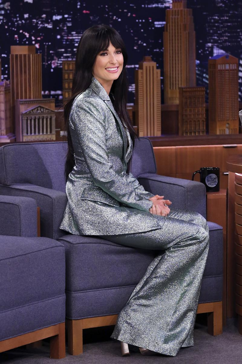 Kacey in Christian Siriano suit during The Tonight Show Starring Jimmy Fallon.