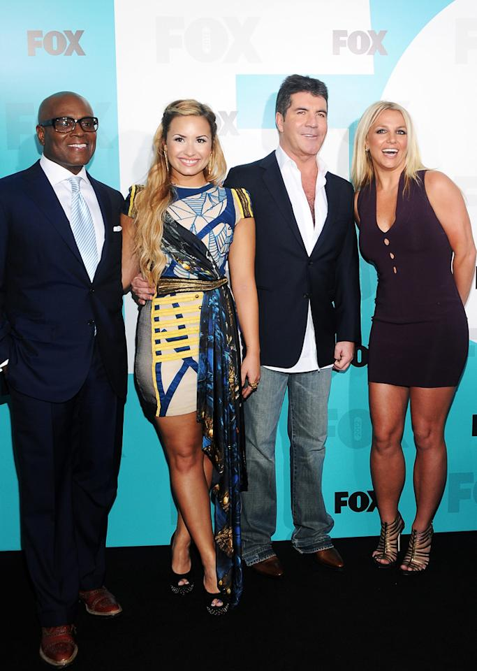 "L.A. Reid, Demi Lovato, Simon Cowell, and Britney Spears (""X Factor"") attend the Fox 2012 Upfronts Post-Show Party on May 14, 2012 in New York City."