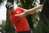Henrik Stenson, of Sweden, hits from the second tee during a practice round of the Honda Classic golf tournament, Wednesday, March 17, 2021, in Palm Beach Gardens, Fla. (AP Photo/Marta Lavandier)