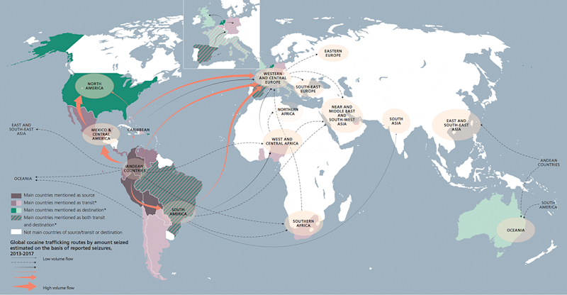 These are the primary cocaine trafficking routes around the world. (Graphic: UNODC Drug Report 2019)