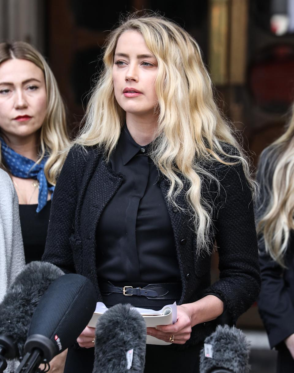 Amber Heard gives a statement outside the Royal Courts of Justice on the final day of Johnny Depp's Libel Case. (Photo by Brett Cove / SOPA Images/Sipa USA)