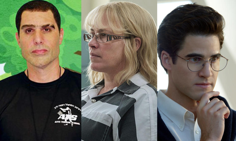 Sacha Baron Cohen in <em>Who Is America?</em>/Patricia Arquette in <em>Escape at Dannemora</em>/Darren Criss in <em>American Crime Story: The Assassination of Gianni Versace</em> (Photo: HBO/Showtime/Everett Collection)
