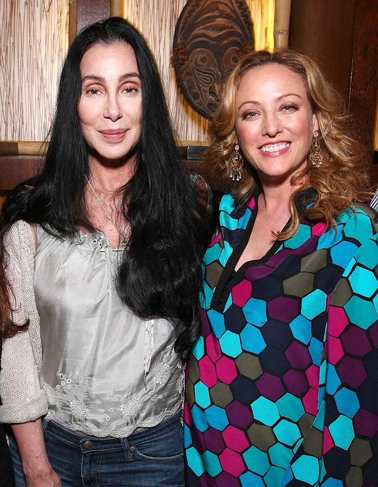 "A scary-looking Cher and a scary ensemble-sporting Virginia Madsen pose for a pic upon arriving at the star-studded event. John Shearer/<a href=""http://www.wireimage.com"" target=""new"">WireImage.com</a> - October 22, 2008"