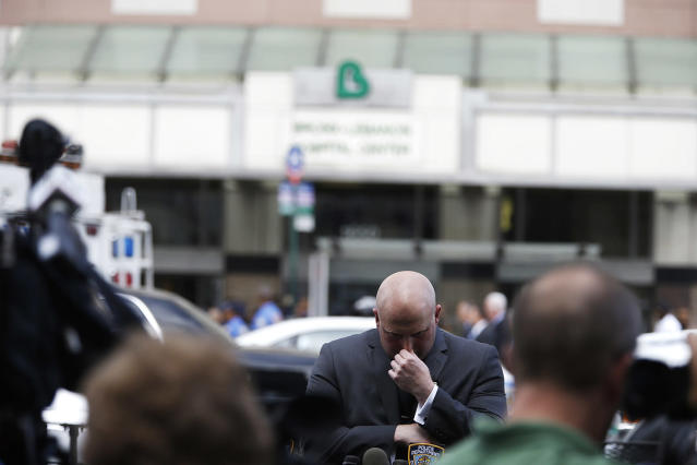 <p>NYPD Spokesperson Mike Debonis before a press conference at the scene of shooting killing one and wounding six others at Bronx Lebanon Hospital Center Friday, June 30, 2017, in New York. (AP Photo/Michael Noble) </p>