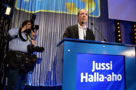 The Finns candidate Jussi Halla-aho speaks at the European Parliament election event in Helsink