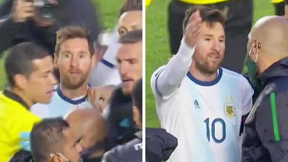 Lionel Messi (pictured) fumes and argues with a Bolivia trainer after the World Cup qualifier.