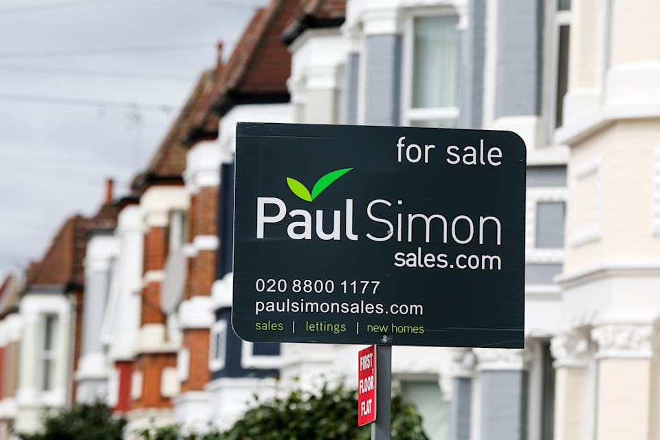 A 'For Sale' estate agent's board sign erected outside a property in London. Photo: Dinendra Haria/SOPA Images/Sipa USA