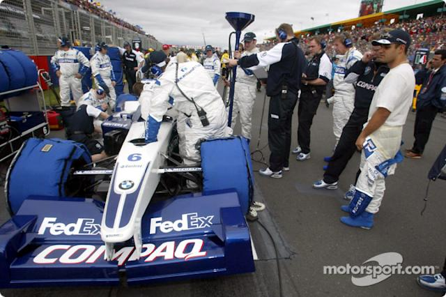 "Juan Pablo Montoya en la parrilla <span class=""copyright"">Williams F1</span>"
