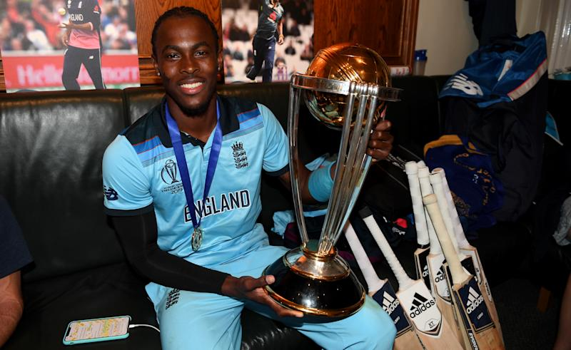 LONDON, ENGLAND - JULY 14: Jofra Archer of England celebrates in the dressing rooms after winning the Final of the ICC Cricket World Cup 2019 between England and New Zealand at Lord's Cricket Ground on July 14, 2019 in London, England. (Photo by Gareth Copley-IDI/IDI via Getty Images)