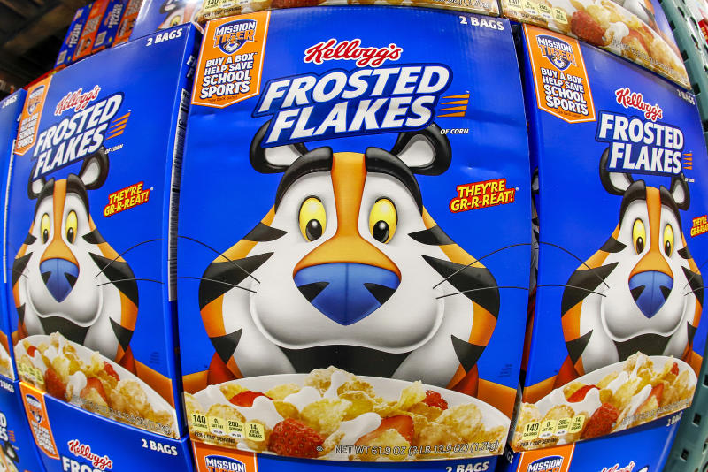 This is a display of Kellogg's Frosted Flakes cereal at a Costco Warehouse in Robinson Township, Pa., on Thursday, May 14, 2020. (AP Photo/Gene J. Puskar)