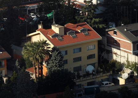 Saudi Arabia's consulate is pictured from a skyscraper in Istanbul's Levent district