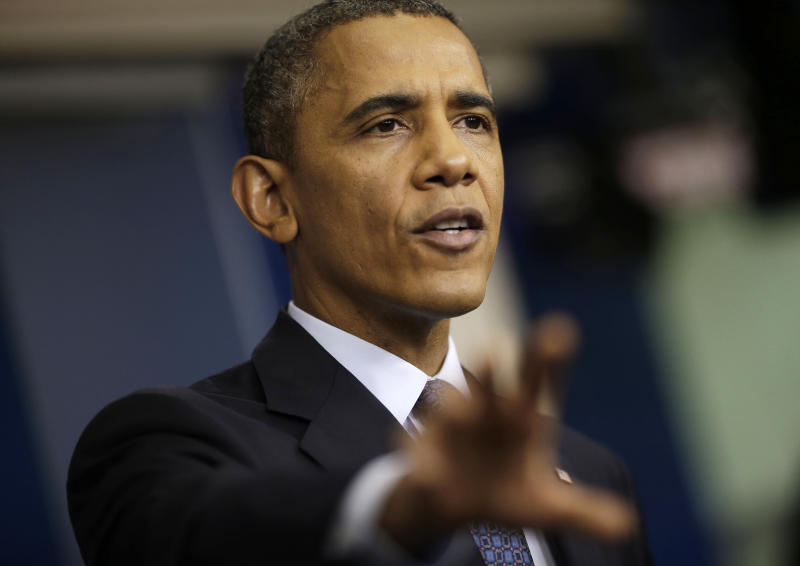 """President Barack Obama speaks about the the budget and the partial government shutdown, Tuesday, Oct. 8, 2013, in the Brady Press Room of the White House in Washington. The president said he told House Speaker John Boehner he's willing to negotiate with Republicans on their priorities, but not under the threat of """"economic chaos."""" (AP Photo/Pablo Martinez Monsivais)"""