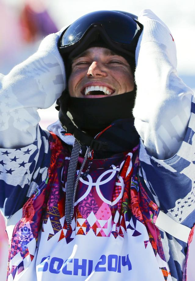 Gus Kenworthy of the U.S. reacts on the finish line during the men's freestyle skiing slopestyle finals at the 2014 Sochi Winter Olympic Games in Rosa Khutor, February 13, 2014. REUTERS/Mike Blake (RUSSIA - Tags: SPORT OLYMPICS SPORT SKIING)