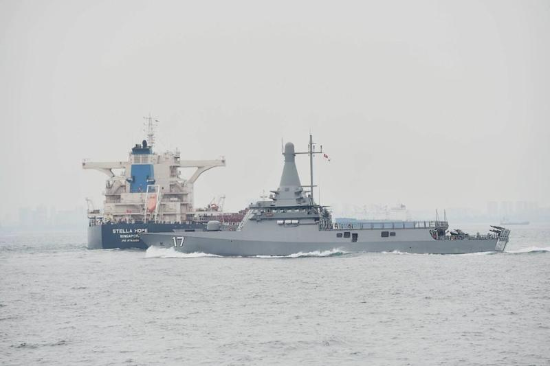 Singapore Navy's RSS Unity is seen in the republic's waters in an undated picture. — Picture via Facebook/Republic of Singapore Navy