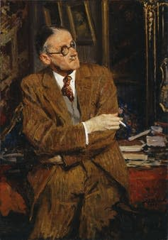 Painting of James Joyce holding a cigarette while leaning against a table.