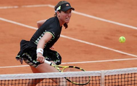 Johanna Konta during the Women's Semi Final of the French Open at Roland Garros, Paris - Credit: PA