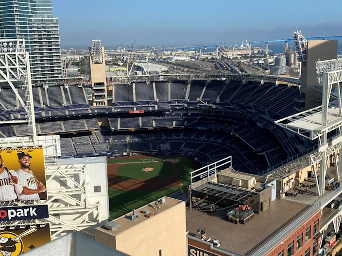 View of Petco Park from the rooftop of the San Diego Marriott Gaslamp Quarter.