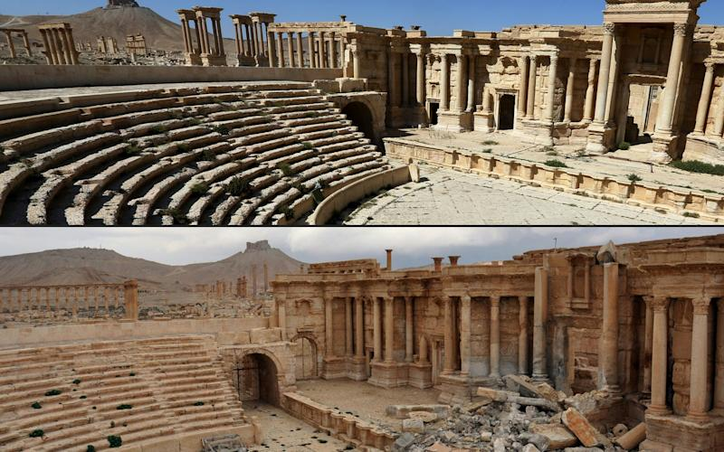 Before and after split of Palmyra's Roman amphitheatre - Credit: AFP