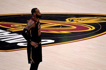 FILE PHOTO: Jun 8, 2018; Cleveland, OH, USA; Cleveland Cavaliers forward LeBron James (23) reacts during the third quarter against the Golden State Warriors in game four of the 2018 NBA Finals at Quicken Loans Arena. Mandatory Credit: Kyle Terada-USA TODAY Sports/File Photo