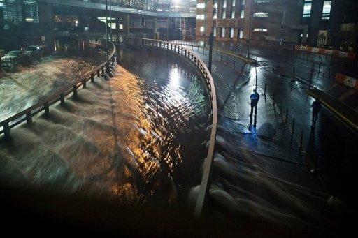 Water rushes into the Carey Tunnel (previously the Brooklyn Battery Tunnel) as super storm Sandy reaches land in the Financial District of New York, United States, October 29, 2012