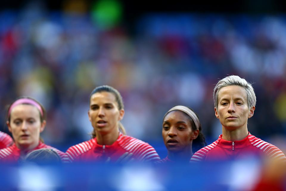 The USWNT has filed a motion in its equal pay lawsuit asking the judge to forgo a trial and award the players $67 million in back pay. U.S. Soccer, on the other hand, has asked for the case to be dismissed. (Photo by Maddie Meyer - FIFA/FIFA via Getty Images)