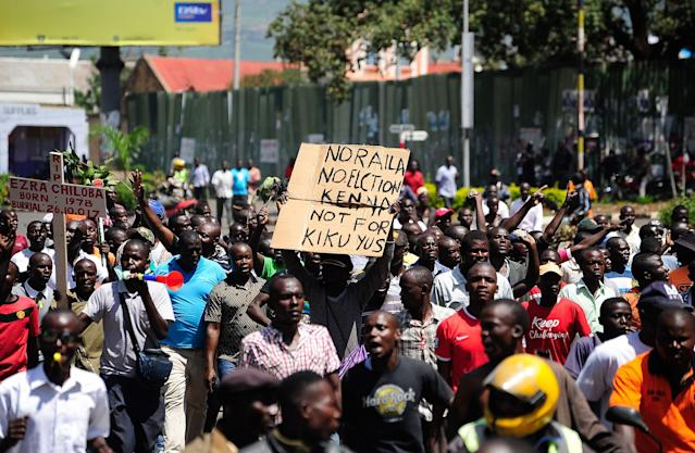 <p>Supporters of National Super Alliance (NASA) presidential candidate Raila Odinga demonstrate in the streets on the boycott of the upcoming elections on Oct. 24, 2017 in Kisumu, Kenya. (Photo: Kevin Midigo/AFP/Getty Images) </p>