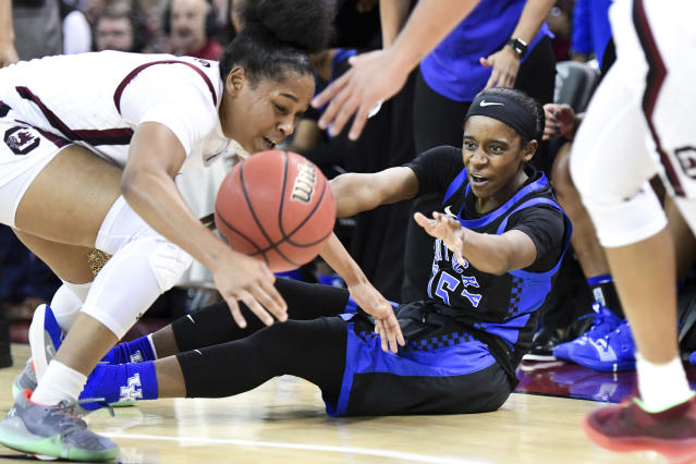 Kentucky guard Chasity Patterson (15) battles for possession against South Carolina guard Zia Cooke, left, during the first half of an NCAA college basketball game against Kentucky Thursday, Jan. 2, 2020, in Columbia, S.C. (AP Photo/Sean Rayford)