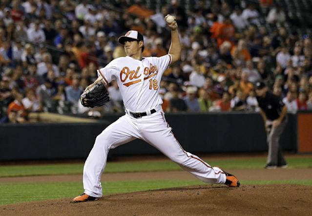 Baltimore Orioles starting pitcher Wei-Yin Chen, of Taiwan, throws to a New York Yankees batter in the first inning of a baseball game, Thursday, Sept. 12, 2013, in Baltimore. (AP Photo/Patrick Semansky)