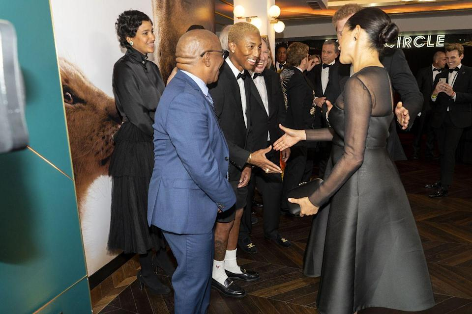 """<p>All female members of the royal family are required to wear pantyhose in public, as <a href=""""https://www.cosmopolitan.com/entertainment/celebs/g18197742/meghan-markle-royal-protocol/?slide=1"""" rel=""""nofollow noopener"""" target=""""_blank"""" data-ylk=""""slk:protocol forbids bare legs"""" class=""""link rapid-noclick-resp"""">protocol forbids bare legs</a>. It's not required that celebs follow this rule, but it's encouraged. Looking at you, Pharrell.</p>"""