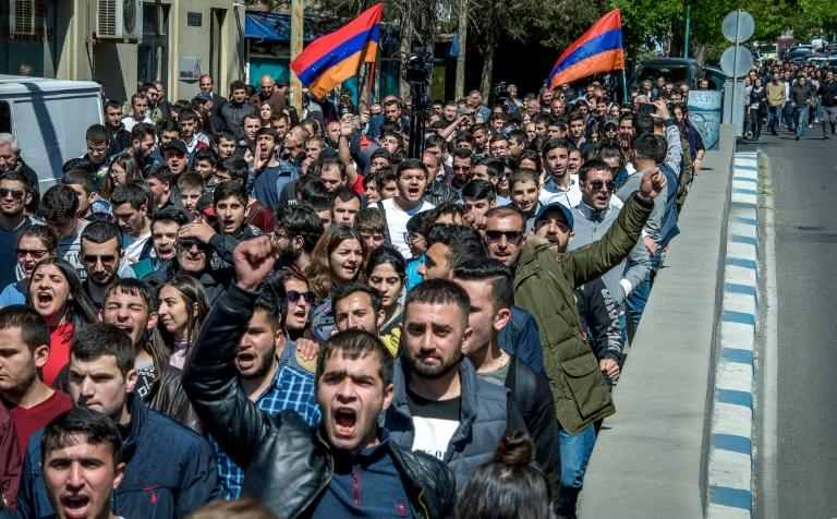 "Some protesters chanted ""Armenia without Serzh"" and ""Serzh is a liar"""