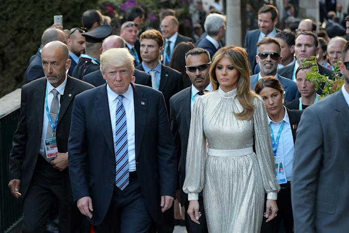 <p>President Donald Trump and First Lady Melania Trump arrive for a concert of La Scala Philharmonic Orchestra at the ancient Greek Theatre of Taormina during the Heads of State and of Government G7 summit in Sicily, Italy May 26, 2017. (Photo: Mandel Ngan/Pool/Reuters) </p>