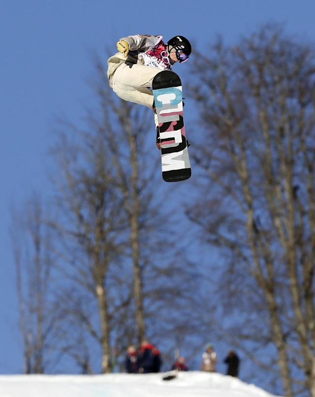 United States' Ryan Stassel takes a jump during the men's snowboard slopestyle semifinal at the Rosa Khutor Extreme Park, at the 2014 Winter Olympics, Saturday, Feb. 8, 2014, in Krasnaya Polyana, Russia. (AP Photo/Andy Wong)