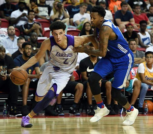 "<a class=""link rapid-noclick-resp"" href=""/ncaab/players/136151/"" data-ylk=""slk:Lonzo Ball"">Lonzo Ball</a> put up 36 points, but not in his signature shoes. (AP)"