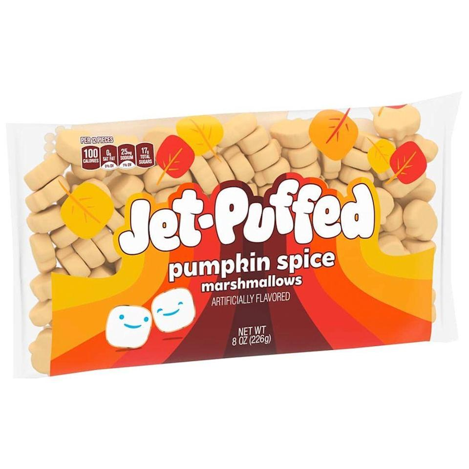 <p><strong>First released:</strong> 2015</p><p>Whether you're making fall-approved s'mores or just want a giant marshmallow in your hot chocolate, you'll need pumpkin marshmallows. </p><p>While the Jet-Puffed Pumpkin Spice Marshmallows have been around for years, they're pack this year with new, festive packaging. Plus, they're in the shape of adorable light orange pumpkins!</p>