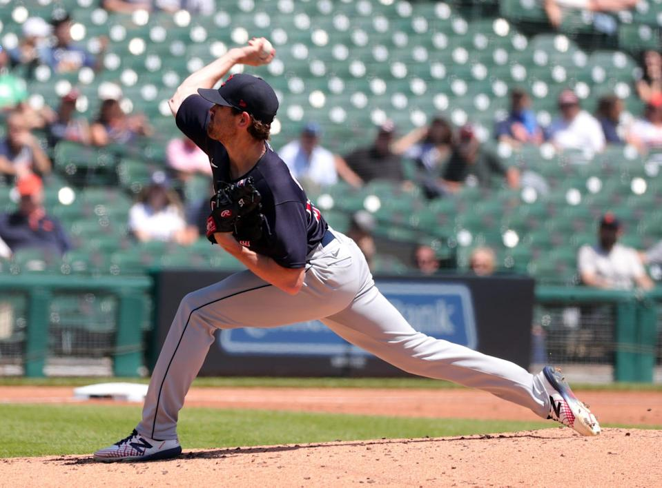 Cleveland pitcher Shane Bieber throws against the Tigers on Thursday, May 27, 2021, at Comerica Park.