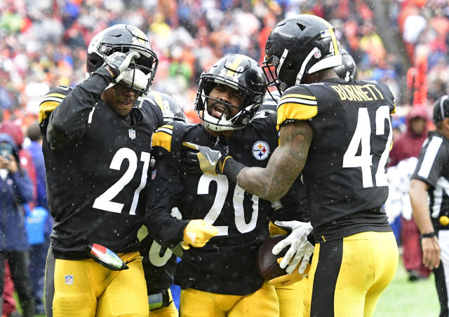 Pittsburgh Steelers cornerback Cameron Sutton (20) is congratulated by teammates after intercepting the ball during the second half of an NFL football game against the Cleveland Browns, Sunday, Sept. 9, 2018, in Cleveland. (AP Photo/David Richard)