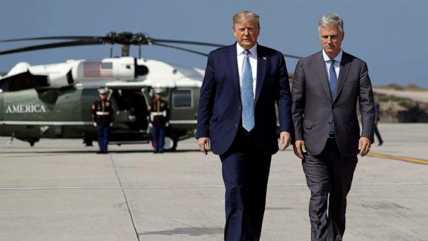 PHOTO: President Donald Trump and Robert O'Brien, just named as the new national security adviser, walk to speak to the media before boarding Air Force One at Los Angeles International Airport, Sept. 18, 2019, in Los Angeles. (Evan Vucci/AP)