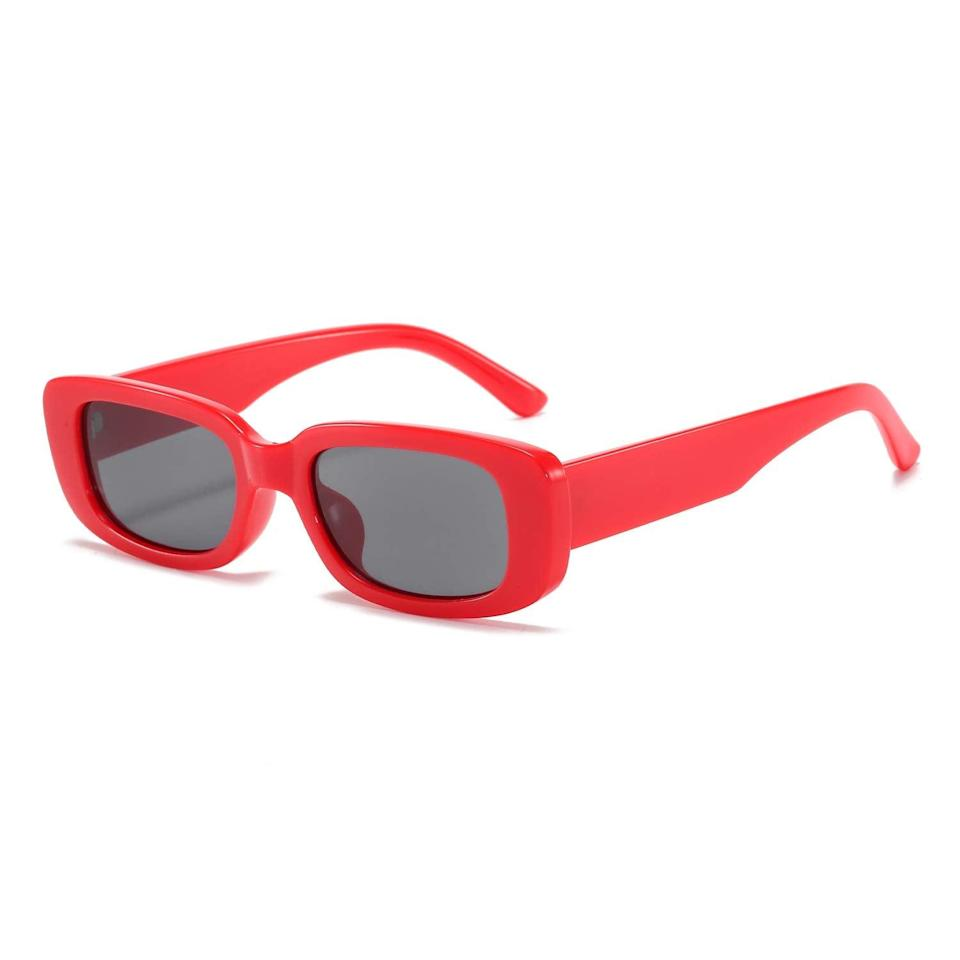 """<h2>19% Off Amazon Rectangle Sunglasses</h2><br>Shopping team writer, Emily Ruane, owns exactly three pairs of these <a href=""""https://www.refinery29.com/en-us/trendy-amazon-sunglasses"""" rel=""""nofollow noopener"""" target=""""_blank"""" data-ylk=""""slk:$13 trendy sunglasses"""" class=""""link rapid-noclick-resp"""">$13 trendy sunglasses</a> that she happily discovered on Amazon and describes as """"a gently rectangular and vaguely nostalgic silhouette that's equal parts '90s supermodel and 2021 hot girl"""" — and, now, it seems as though many R29 readers own more than a few pairs too. <br><br><em>Shop <strong><a href=""""https://amzn.to/3ehjk9w"""" rel=""""nofollow noopener"""" target=""""_blank"""" data-ylk=""""slk:Amazon"""" class=""""link rapid-noclick-resp"""">Amazon</a></strong></em><br><br><strong>BUTABY</strong> Red Rectangle Sunglasses, $, available at <a href=""""https://www.amazon.com/dp/B08MBS2KJW"""" rel=""""nofollow noopener"""" target=""""_blank"""" data-ylk=""""slk:Amazon"""" class=""""link rapid-noclick-resp"""">Amazon</a>"""