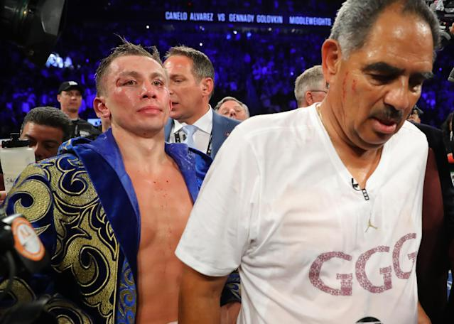 Gennady Golovkin reacts after the conclusion of his middleweight championship bout against Canelo Alvarez at T-Mobile Arena on Saturday in Las Vegas. (Getty Images)
