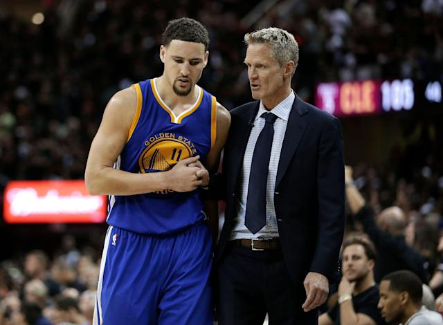 "<a class=""link rapid-noclick-resp"" href=""/nba/teams/golden-state/"" data-ylk=""slk:Golden State Warriors"">Golden State Warriors</a> guard <a class=""link rapid-noclick-resp"" href=""/nba/players/4892/"" data-ylk=""slk:Klay Thompson"">Klay Thompson</a> (11) talks with head coach Steve Kerr against the <a class=""link rapid-noclick-resp"" href=""/nba/teams/cleveland/"" data-ylk=""slk:Cleveland Cavaliers"">Cleveland Cavaliers</a> during the second half of Game 6 of basketball's NBA Finals in Cleveland, Thursday, June 16, 2016. Cleveland won 115-101. (AP)"