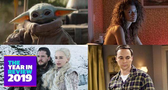 The Mandalorian, Euphoria, Game of Thrones and The Big Bang Theory (Photo: Everett Collection, HBO, Warner Bros. Television)