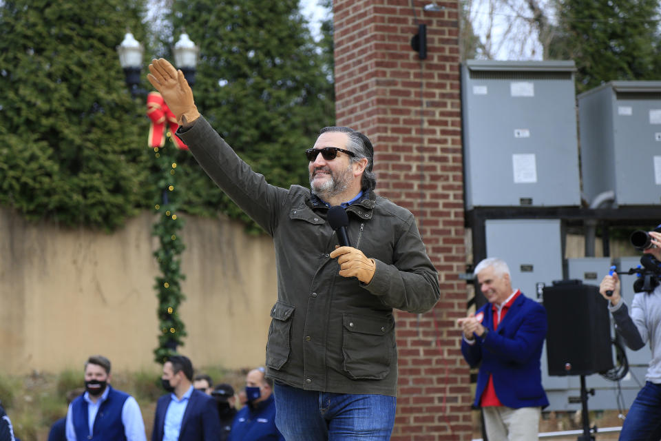 SUGAR HILL, GA - JANUARY 03: U.S. Senator Ted Cruz waves to the crowd as he is introduced during the SAVE AMERICA TOUR at The Bowl at Sugar Hill on January 3rd, 2021 in Sugar Hill, Georgia. Cruz is an American politician and attorney serving as the junior United States Senator for Texas since 2013. He was also runner-up for the presidential nomination in the 2016 election.  (Photo by David J. Griffin/Icon Sportswire)