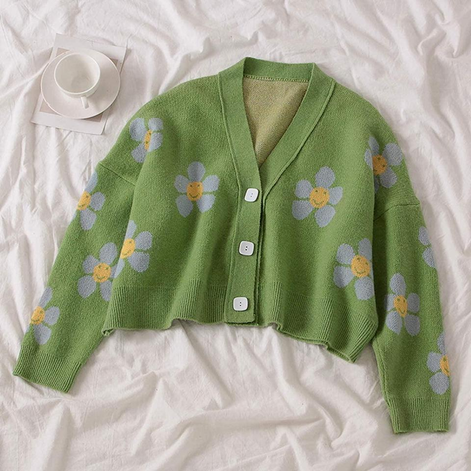 <p>How cute is this <span>Meladyan Women's Flower Knit Crop Sweater Cardigan</span> ($27)?! It will brighten up your wardrobe and is perfect for the summer.</p>