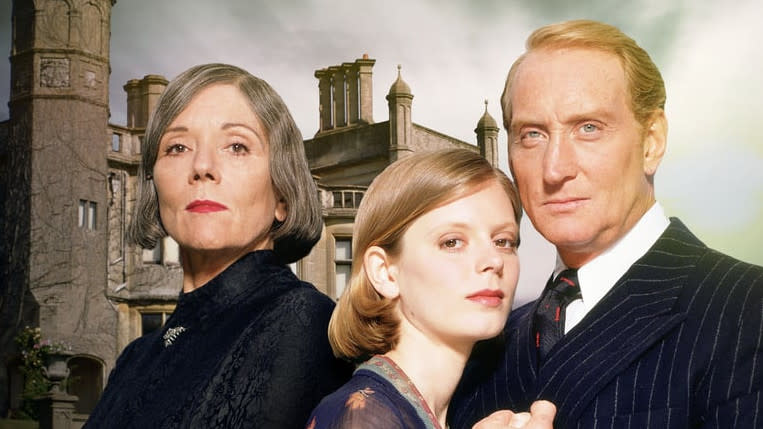 Diana Rigg, Emilia Fox and Charles Dance in the 1997 miniseries adaptation of 'Rebecca'. (Credit: ITV/PBS)