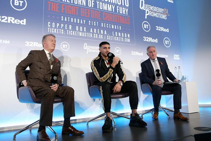 Fury was back alongside promoter Frank Warren on Monday. (Getty Images)