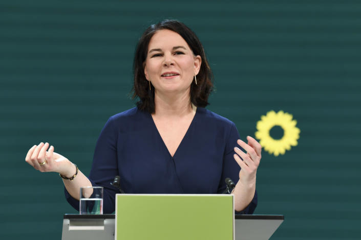 Germany's Green party co-leader Annalena Baerbock gives a speech during a digital announcement event in Berlin, Germany, where the party presented her as top candidate for chancellor for the upcoming federal election later this year, Monday, April 19, 2021. (Annegret Hilse/Pool via AP)