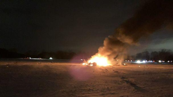 PHOTO: Three people were killed when a New York Army National Guard UH-60 medical evacuation helicopter based at the Army Aviation Support Facility at Rochester International Airport crashed in Mendon, N.Y., on Jan. 20, 2021. (Emily Fasel/Twitter)