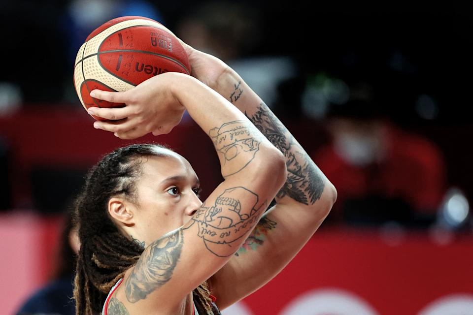 <p>USA's basketball player Brittney Griner attends a training session during the Tokyo 2020 Olympic Games at the Saitama Super Arena in Saitama on July 24, 2021. / AFP / Thomas COEX</p>