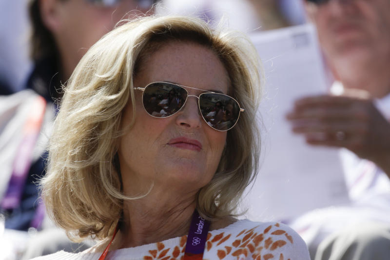Ann Romney the wife of U.S. Republican presidential candidate Mitt Romney watches the equestrian dressage competition, at the 2012 Summer Olympics, Thursday, Aug. 2, 2012, in London. (AP Photo/Markus Schreiber)